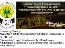 CPF Lyttelton Sector 4 Community Meeting - Dutch Reformed Church Elarduspark
