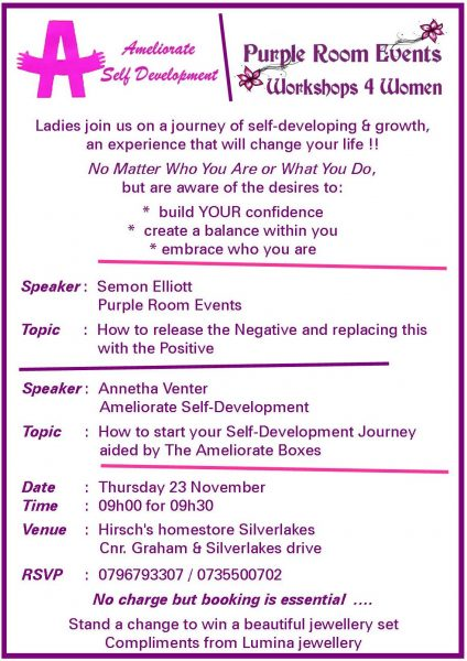 Workshop Just 4 Women 2017 - Hirsch Homestore Silverlakes