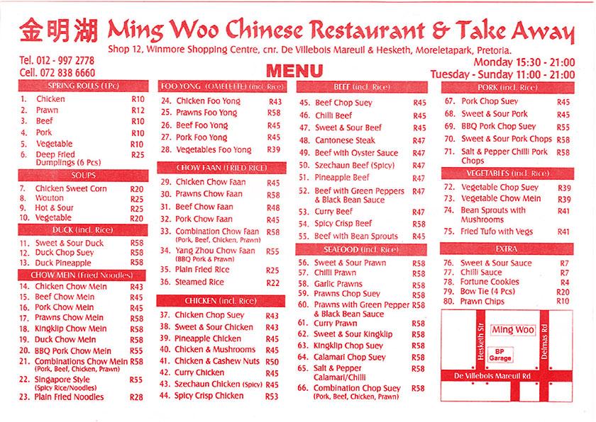 Ming Woo Restaurant & Take Aways